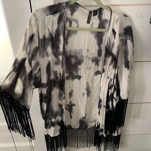 Black Fringe Tye dye Shaw